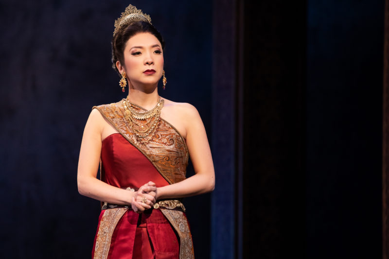 Asian woman dressed as royalty. Her name is Lady Thiang, one of the King of Siam's wives.