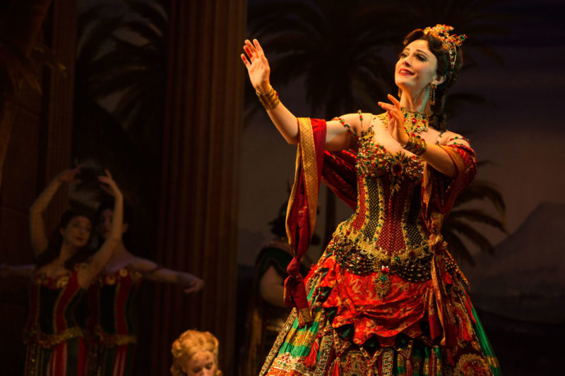 Carlotta Giudicelli, the star soprano, sings an aria during a dress rehearsal for the upcoming opera, Hannibal.