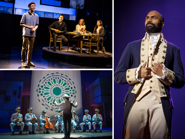 Scenes from Dear Evan Hansen, The Band's Visit and Hamilton